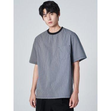 남성 네이비 멀티 스트라이프 리브 조직 우븐 포켓 티셔츠 (269742DY1R)