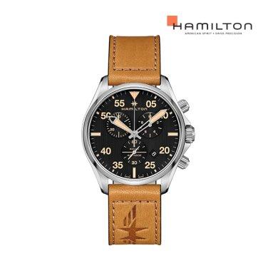 [NEW] H76722531 카키 파일럿 크로노 쿼츠 44mm 브라운 가죽 남성 시계