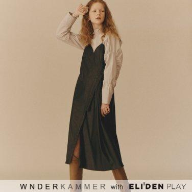 [분더캄머:WNDERKAMMER] Button Leather Dress_Dark Green (WK9F0-BLOP080)