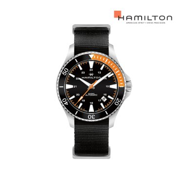 H82305931 카키 스쿠버 오토 40mm 오렌지-블랙 나토밴드 남성 시계
