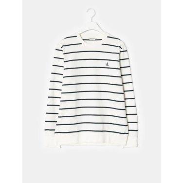 19SS  화이트 스트라이프 스웨트 셔츠(BC9141A141-)