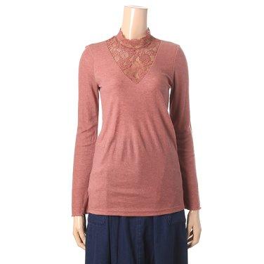[여성]레이스 배색 반하이넥 티셔츠(T186MTS134W)
