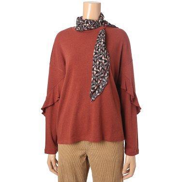 [여성]패턴 스카프 져지 티셔츠(T198MTS232W)