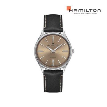H38525721 재즈 씬라인 오토 브론즈 - 블랙 가죽 스트랩 남성 시계