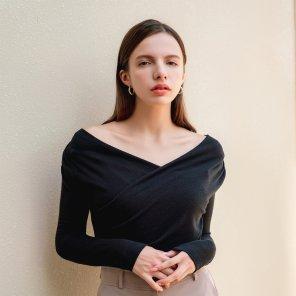 Feminine Vneck Pintuck Wrap Tshirt Black(2019FTS320_05)