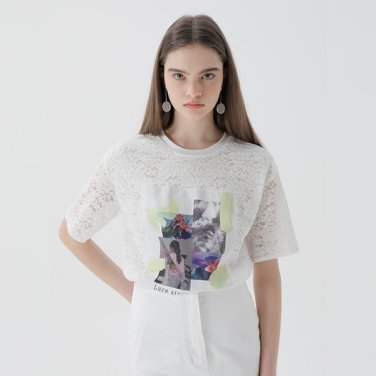 프린트 패치 레이스 티셔츠(NW9ME184)
