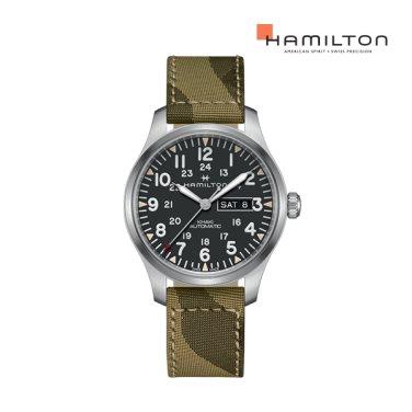 H70535031 카키 필드 데이 데이트 오토 42mm 블랙 다이얼 남성 시계