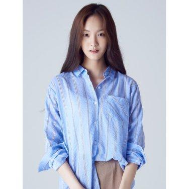 여성 스카이 블루 핀 스트라이프 셔츠 (128764YB1Q)