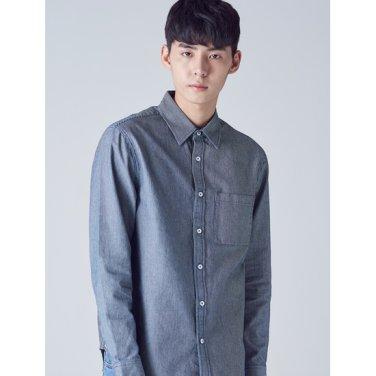 남성 블루 코튼 핀 스트라이프 셔츠 (458764SP1P)