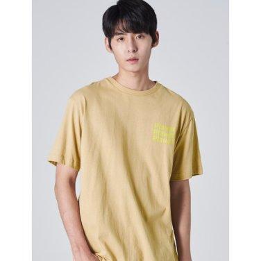 남성 베이지 코튼 레터링 프린팅 티셔츠 (429742DY3A)