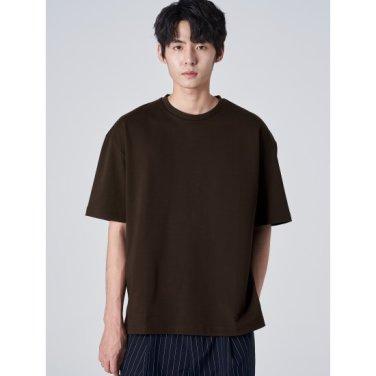 남성 브라운 백 그래픽 프린팅 드롭 숄더 슬릿 라운드넥 티셔츠 (269742DY6D)