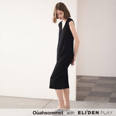 [우아솜메] Ouahsommet CASHMERE RIBBED KNIT DRESS [BLACK] (OBBKO006A)