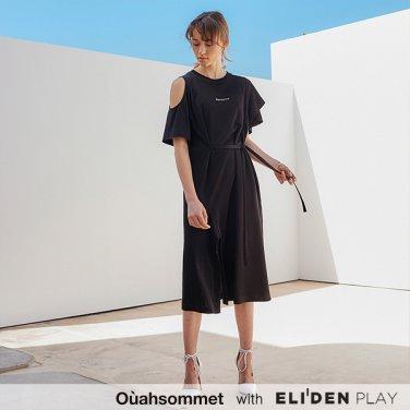 [우아솜메] Ouahsommet Asymmetric Jersey Dress_BK (OBFTO002A)