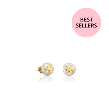 [TOUS]Gold TOUS Bear Earrings with Pearl/511000795