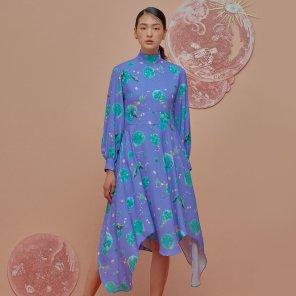 Flowing Down Dress-Purple