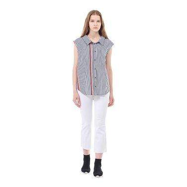 스트라이프 배색 슬리브리스 셔츠(7118260402)