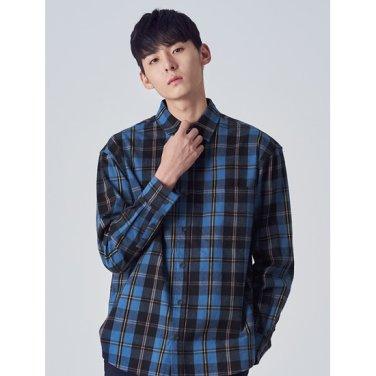 남성 블루 체크 포인트 컬러 셔츠 (238X64CQ1P)