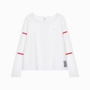 여성 백 플리츠 플레어 긴팔 티셔츠 4WH9K246-100