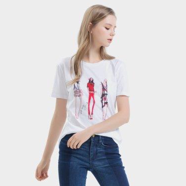 모달 혼방의 일러스트 티셔츠(DW1J1TTS031W)