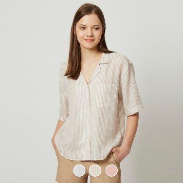 여 리오셀 파자마카라 숏슬리브 셔츠 349512