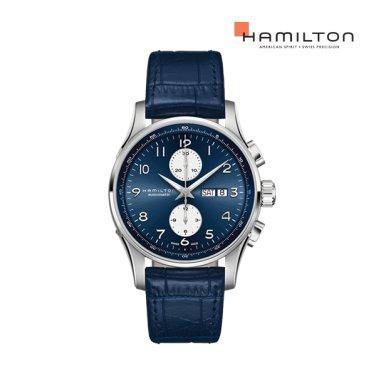 H32766643 재즈마스터 마에스트로 오토크로노 45mm 블루 가죽 남성 시계