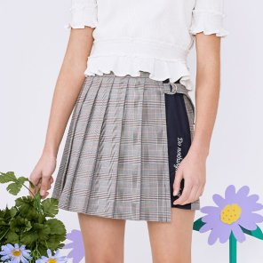 (SK-20145) SET-UP CHECK PLEAT WRAP SKIRT NAVY
