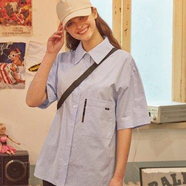 포켓 포인트 옥스퍼드 셔츠 블루