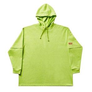 Layered hoody 001 yellowgreen(unisex)
