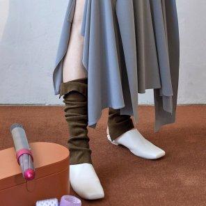 Fin Knit Ankle Warmer_Melange Brown (JC19FWAC21MB)