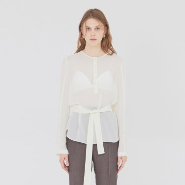 19SS SHEER BLOUSE WITH BELT - CREAM