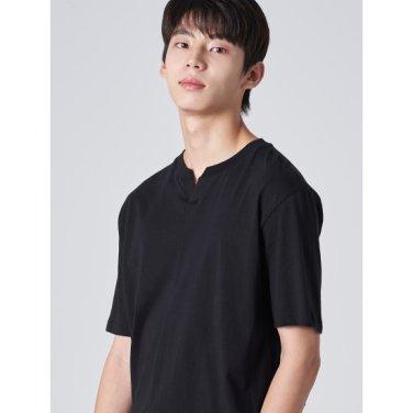 남성 블랙 솔리드 슬럽 코튼 절개 라인 티셔츠 (429742BY25)