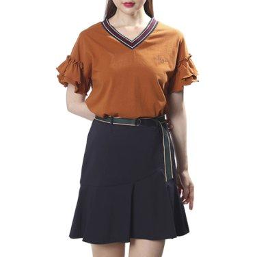 유니크 넥 소매 러플 티셔츠(OW9AE114)