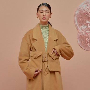 Double Pocket Oversize Coat-Camel
