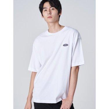 남성 화이트 레터링 엠브로이더리 반소매 티셔츠 (269742FY21)