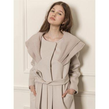 [까이에] Wide double collar coat