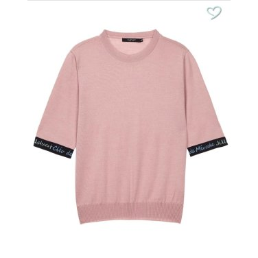 핑크 라인배색 울 반팔니트JSSW9C310P2
