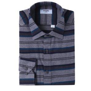 위사스트라이프 기모 슬림핏 셔츠 RIWSL4152GYIL