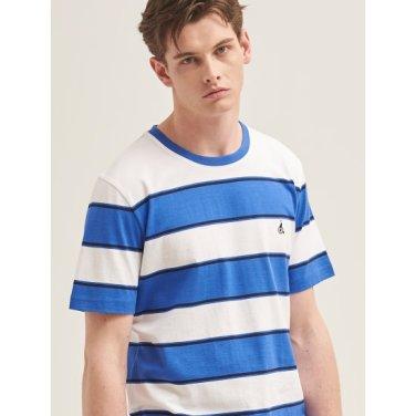 블루 볼드 스트라이프 라운드넥 티셔츠 (BC9342A39P)
