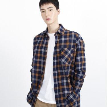 (UNISEX)Unbalance Blue Tartan Check-Shirt