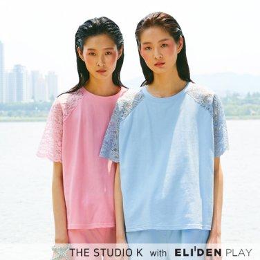 [더스튜디오케이] 19SS 백 레이스 티셔츠_블루 (NS-T-K-G-03)