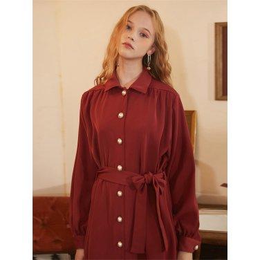 [일루스트리스일루전] ORANGE BROWN COAT DRESS
