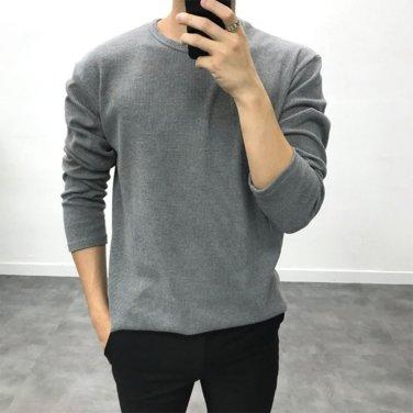 남성 20대 보카시 와플 코튼 혼방 긴팔 티셔츠_T0433