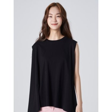 여성 블랙 30수 코튼 플레어 언밸런스 슬리브리스 티셔츠 (169742HY45)