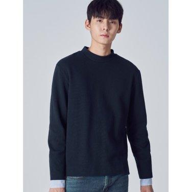 남성 네이비 솔리드 우븐 소매 스웨트 셔츠 (218X41WYBR)