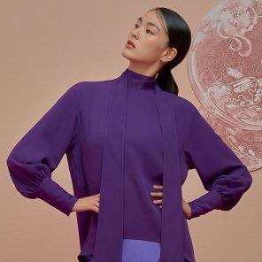 Oversize Scarf Blouse-Purple