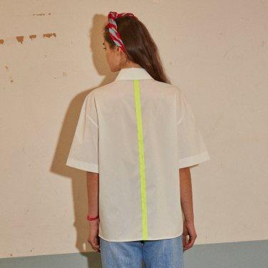네온 테이프 셔츠 화이트
