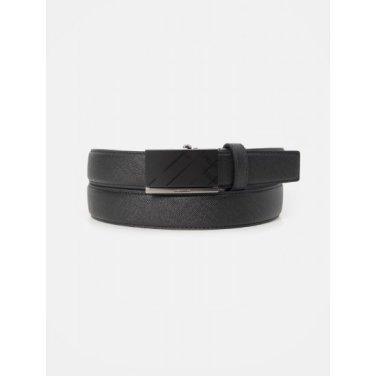 흑착 체크 엠보 자동 벨트 - Black (BE0182T335)