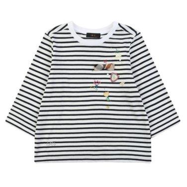 7부 소매 스트라이프 티셔츠 DPM10TR63M