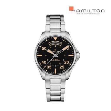 [NEW] H64645131 카키 파일럿 데이 데이트 오토 42mm 메탈 남성 시계