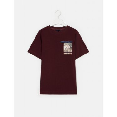 [Online Exclusive] 브라운 그래픽 프린트 베이직 티셔츠 (BF9342N03C)